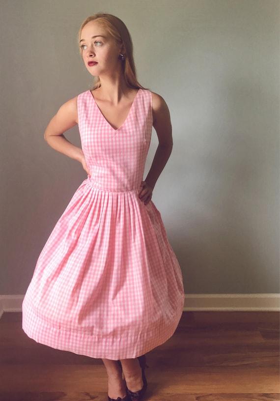 Vintage 50s Pink Gingham Fit & Flare Dress