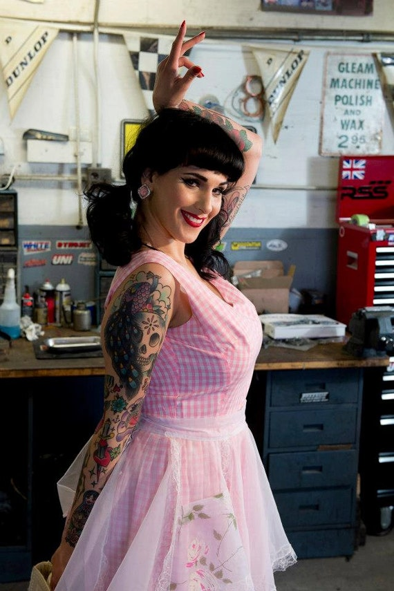 Vintage 50s Pink Gingham Fit & Flare Dress - image 8