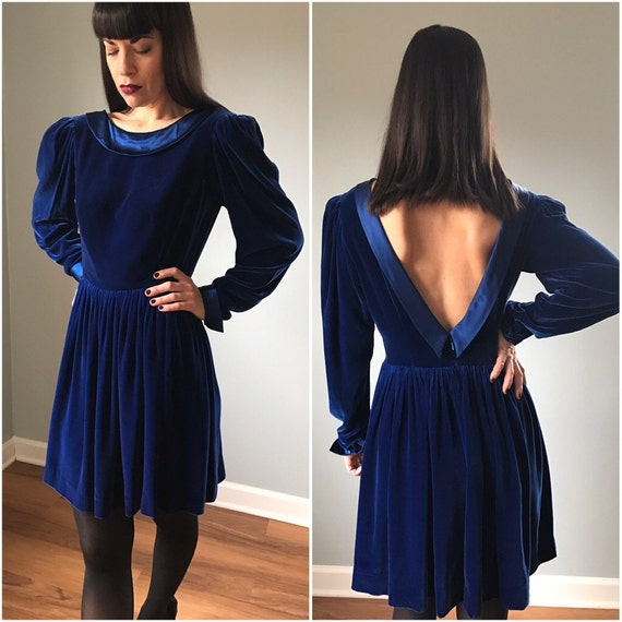 Vintage Cobalt Blue Velvet Peter Pan Dress