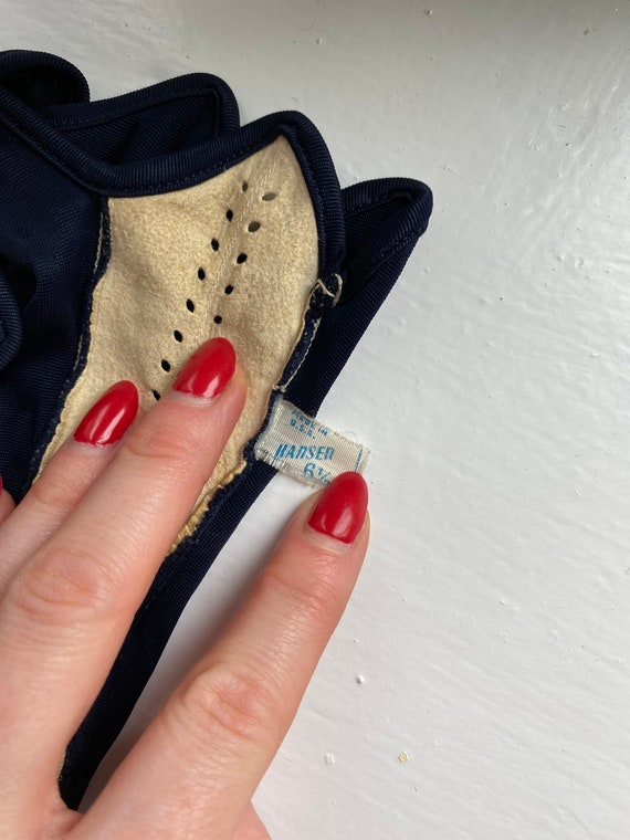 Vintage 50s Navy + White Leather Driving Gloves - image 10