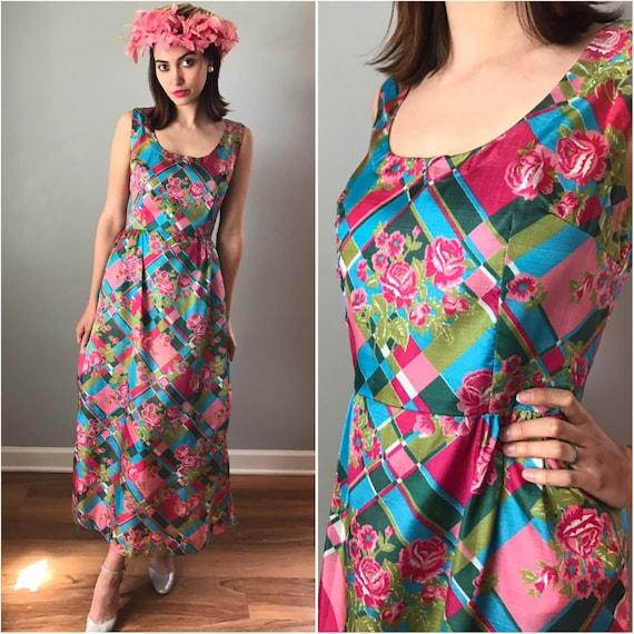 Vintage 70s Shimmer Pink Floral Gown