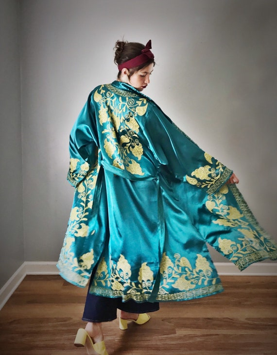Vintage Authentic Chapin Robe Teal Satin