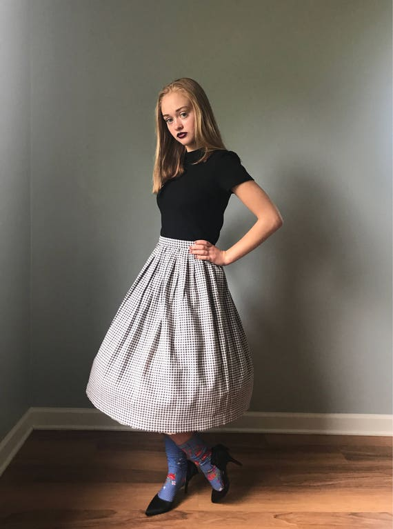 Vintage 50s Houndstooth Circle Skirt XXS