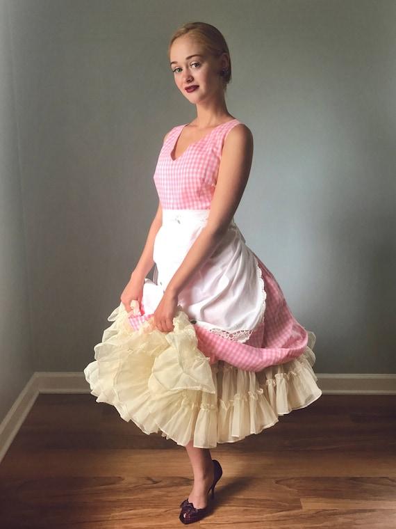 Vintage 50s Pink Gingham Fit & Flare Dress - image 3