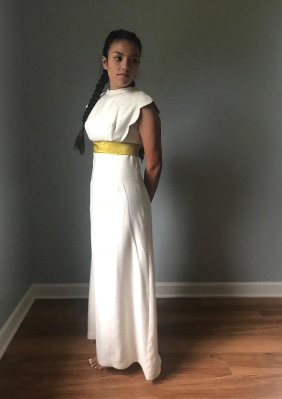 Vintage Ivory Bridesmaid Dress w/ Button Back - image 4