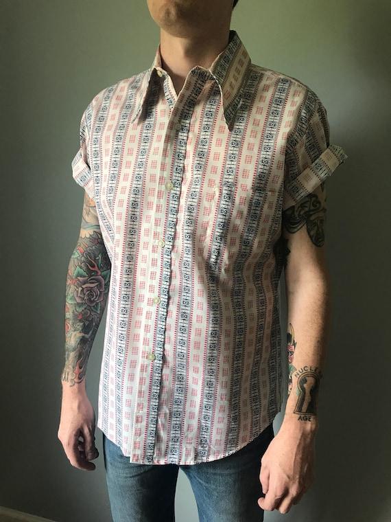 Mens Plaid Textured Fabric Green Stripe 70s Vintage Mens Button Down Shirt  M
