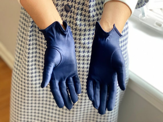 Vintage 50s Navy + White Leather Driving Gloves - image 5