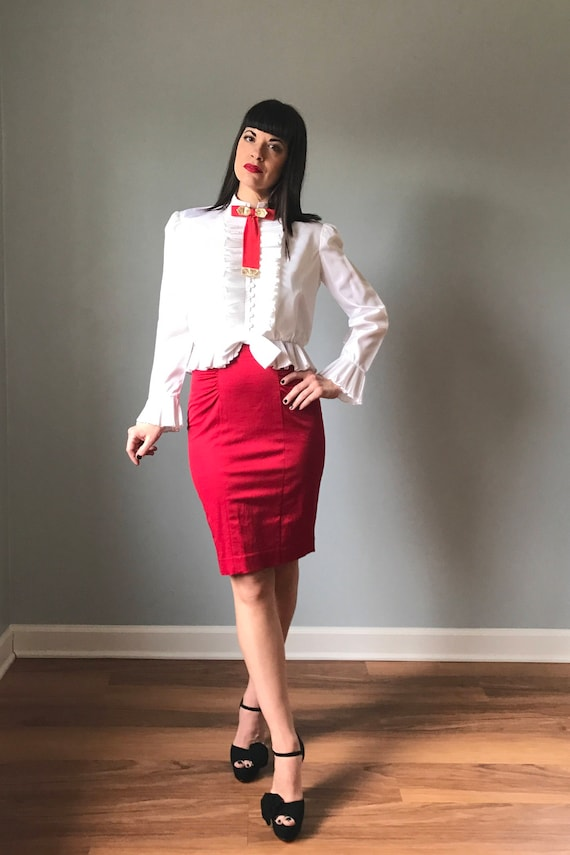 Siren Red Satin Pencil Skirt