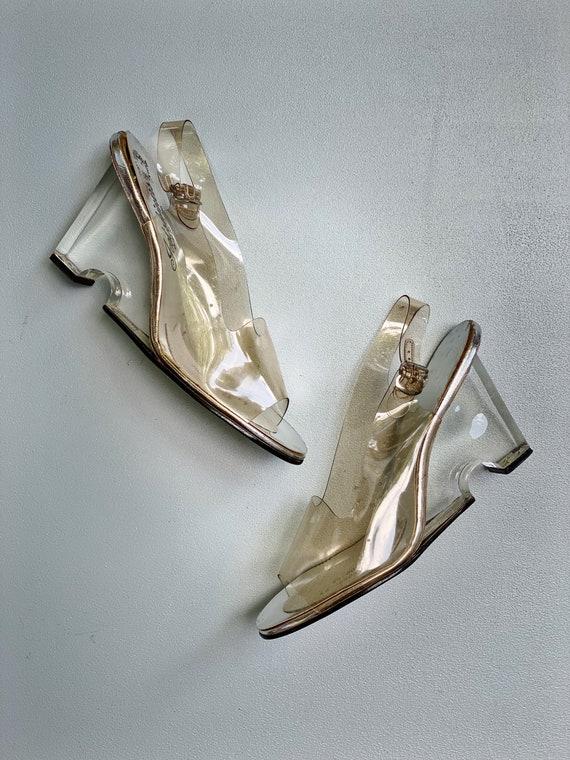 Vintage 60s Deadstock Lucite Acrylic Wedge Heels