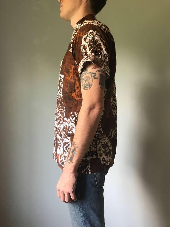 Vintage 50s Mens Brown Tiki Shirt - image 3