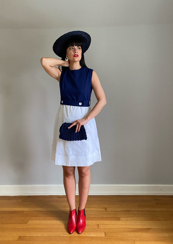 Vintage 70s Linen Colorblock Shift Dress