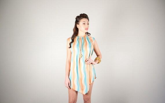 Vintage 70s Orange Psychedelic Mini Dress Tunic