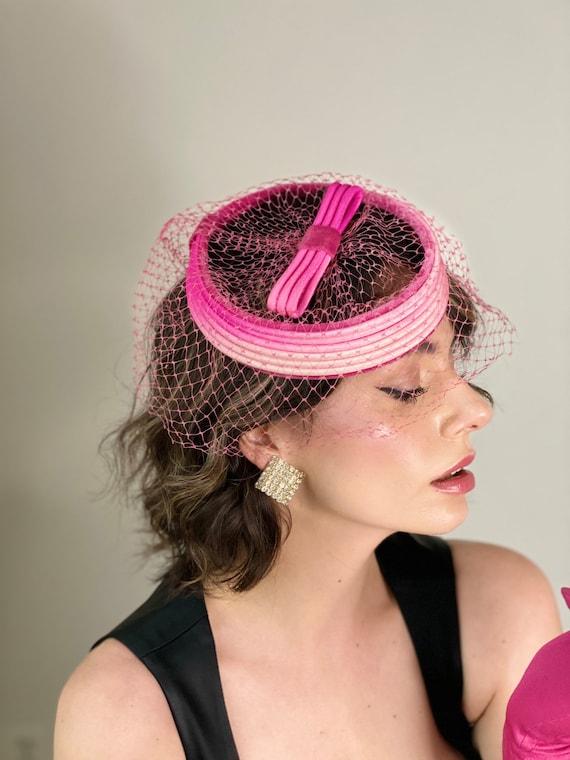 Vintage 50s Fuchsia Fascinator Hat - image 4