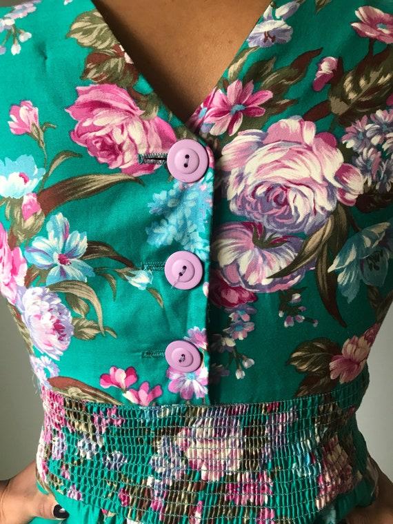 Vintage 80s Does 50s Floral Fit & Flare Dress - image 9