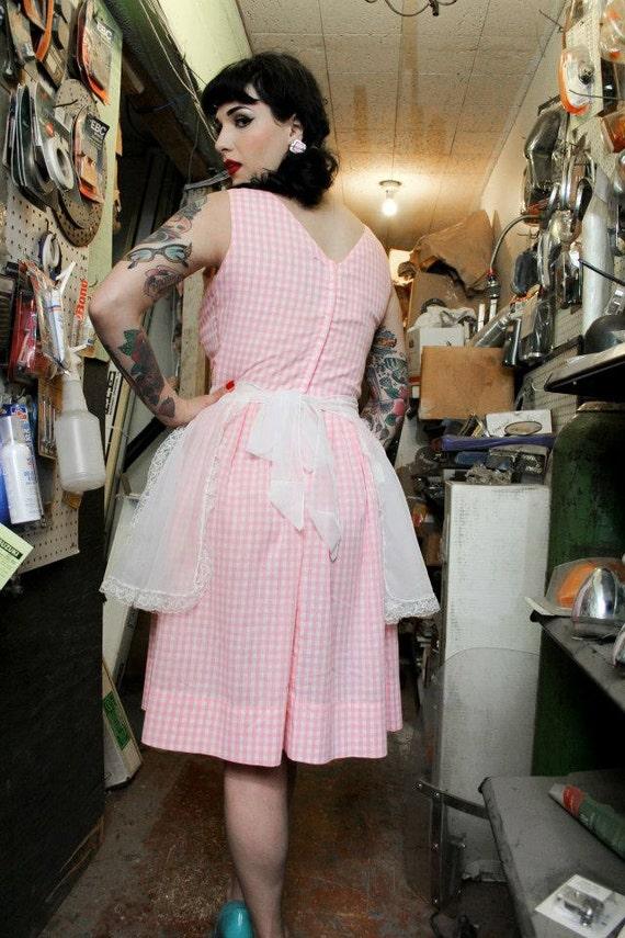 Vintage 50s Pink Gingham Fit & Flare Dress - image 9