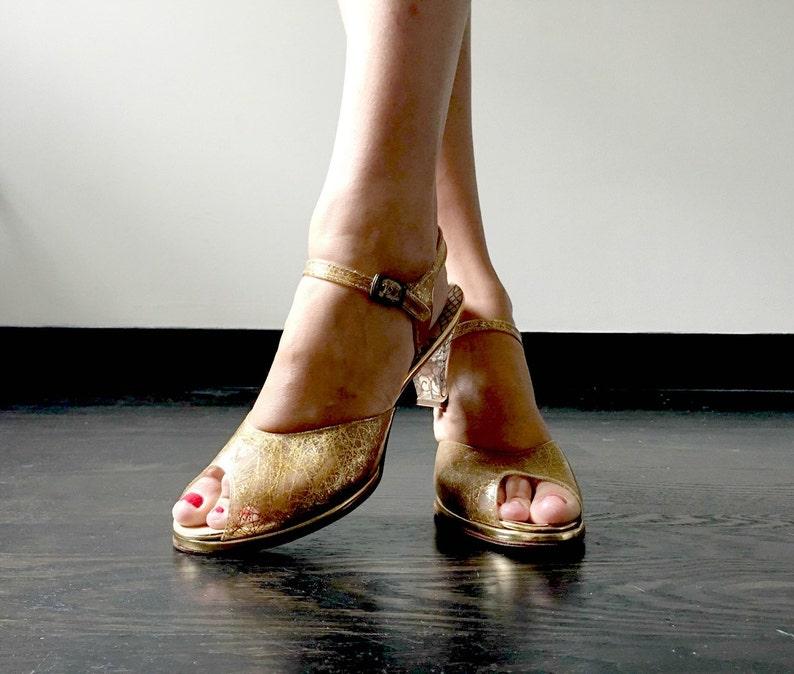 Vintage 50s Gold Lucite Heels