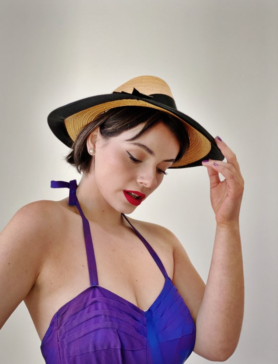 Vintage 50s Straw Sun Hat