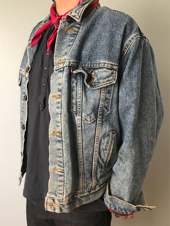 Vintage Levi S Jean Jacket Red Flannel Lining Etsy