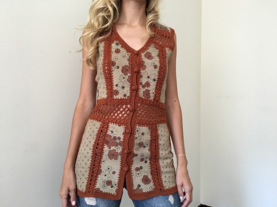 Vintage 70s Festival Knit Suede Boho Top