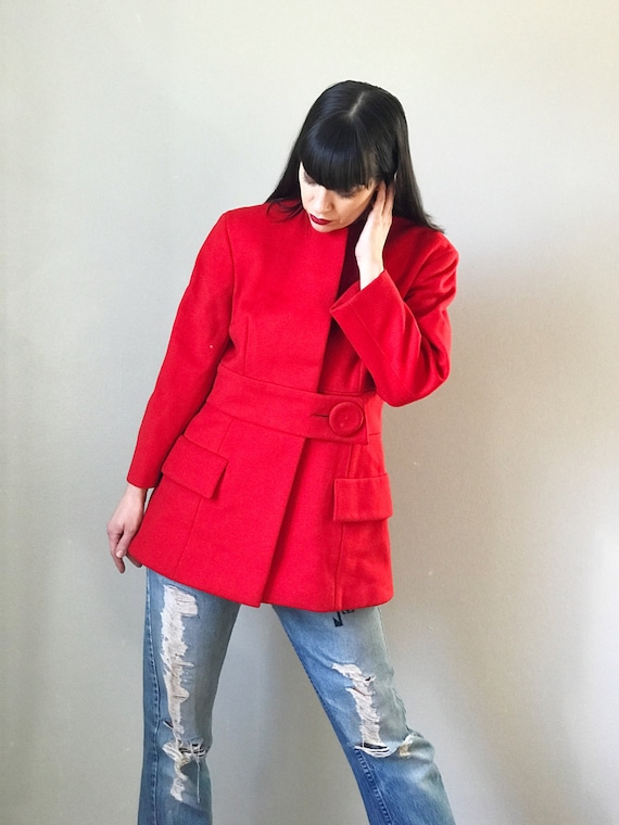 Vintage 60s Pauline Trigère Red Wool Coat