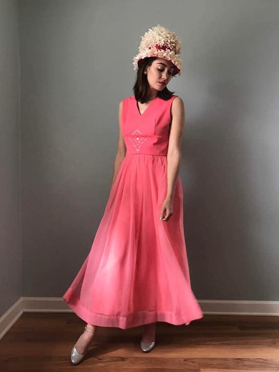 Vintage 70s Pink Prom Formal Dress