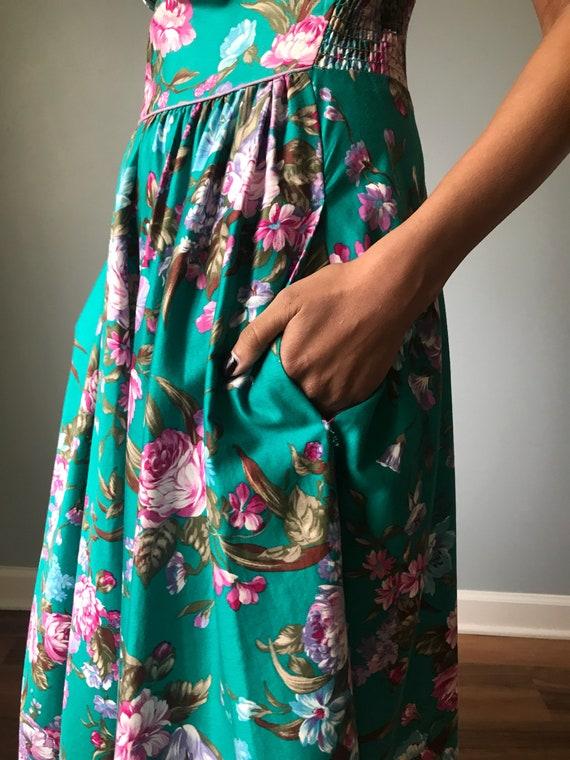 Vintage 80s Does 50s Floral Fit & Flare Dress - image 5