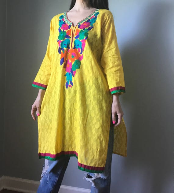 Authentic Yellow Floral Embroidery Kameez Tunic