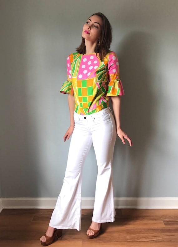 Vintage 60s Op Art Ruffle Sleeve Top