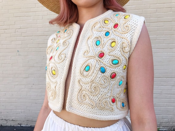 Vintage 60s Rare I. Magnin Cropped Sweater Vest - image 1