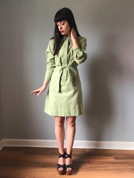 Vintage 70s Sage Green Shirtdress