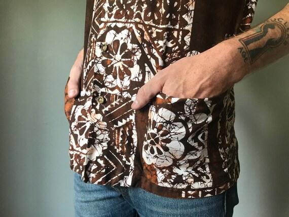 Vintage 50s Mens Brown Tiki Shirt - image 2