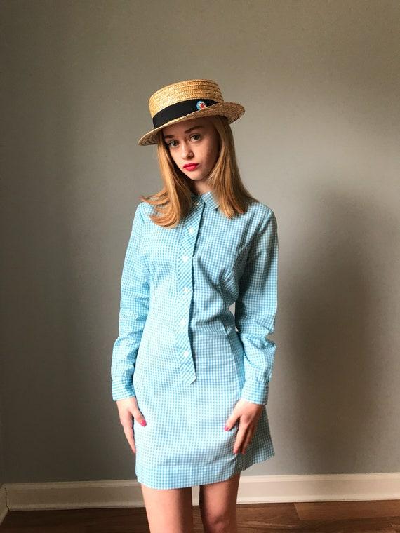 Vintage 60s Blue Gingham Shirt Dress