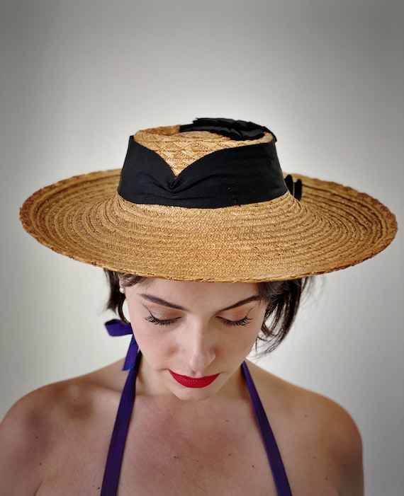 Vintage 40s Straw Cartwheel Hat w/ Ribbon