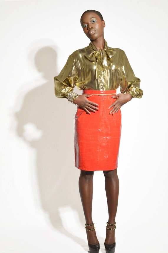 Vintage 80s Red Patent Leather Pencil Skirt