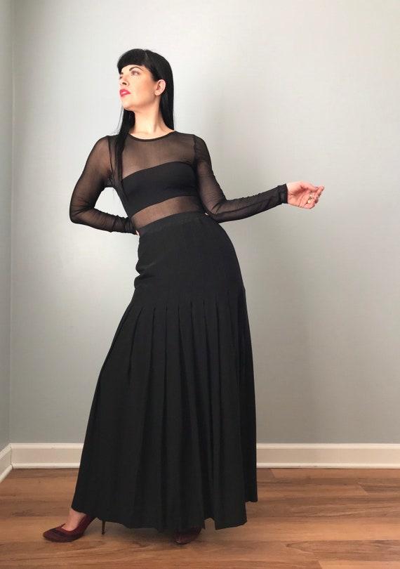 Vintage 80s Chanel Black Silk Maxi Skirt