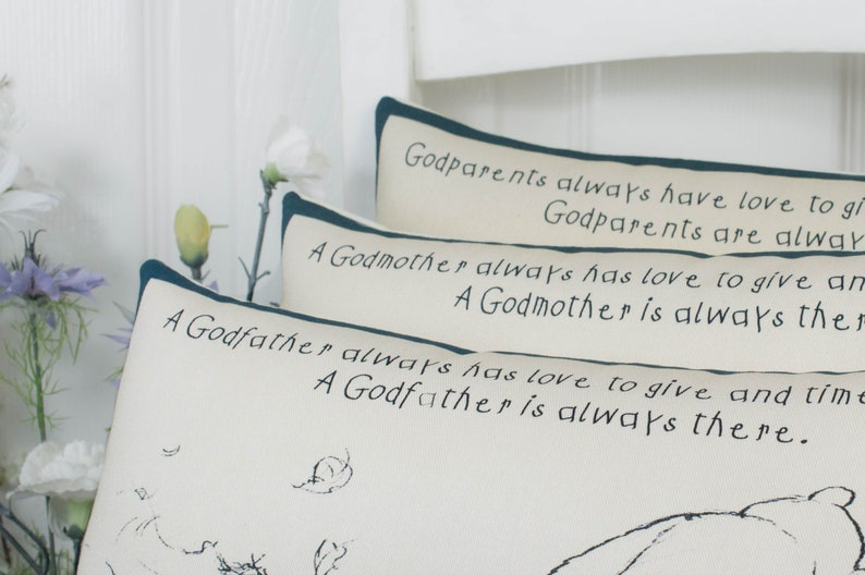 Winnie the Pooh GodParents Complete mini Pillow Christening image 0