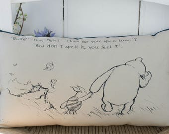 Winnie the Pooh with Spell Love quote. Complete Mini Pillow. Cushion Pooh Gift for her