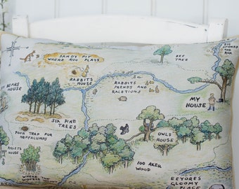 Winnie the Pooh Map Complete Pillow Hundred Acre Wood Classic Pillow in 5 sizes classic Pooh Nursery or Winnie the Pooh gift