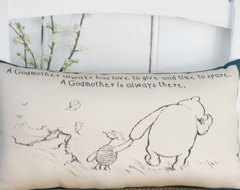 Winnie the Pooh Godmother Complete Mini Pillow Mothers Day Gift for Godmom or christening Godmother Gift.