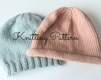 Knitting Pattern DIY Instructions - Basics Beanie Hat - Babies   Toddlers f2d04220361