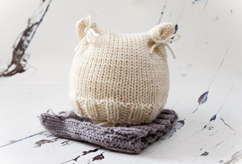 Knitting Pattern/DIY Instructions Cat Ears Baby Beanie Hat ...