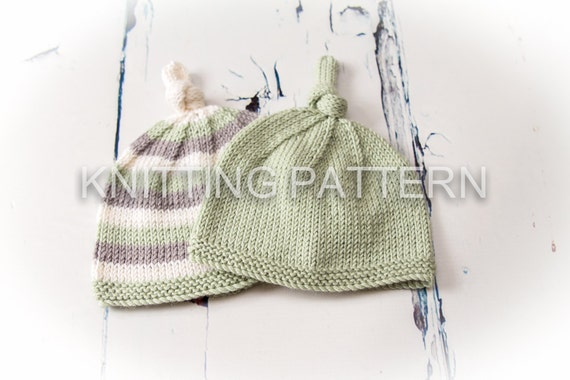 Knitting Pattern DIY Instructions Knot Top Baby Beanie Hat  c836bee15f3