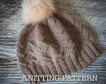 Knitting Pattern/DIY Instructions - Sea Lines Beanie Hat - Children, Adult, DK/Worsted weight yarn