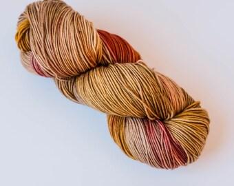 Hand Dyed Yarn - Squishy Merino 4ply/Fingering, Superwash Wool - Copper Penny