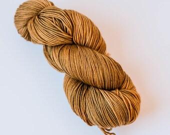 Hand Dyed Yarn - Squishy Merino 4ply/Fingering, Superwash Wool - Burnished Bronze