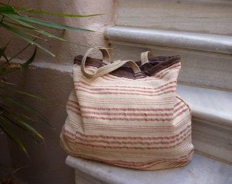 Handmade bag made of handwoven cotton made in the loom Unique shoulder bag All season bag Greek handmade tagari Boho style bag