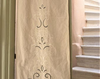 Beige cutwork curtain-Windows decor-Traditional cutwork design-Greek product-Home decor-Cottage chic- 2523