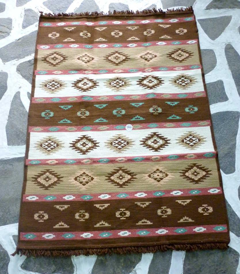 Cotton Woven Kilim/rug Greek Rug Brown White And Beige
