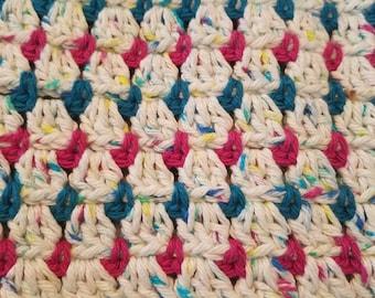 Baby blanket / afghan handmade crochet 100% cotton
