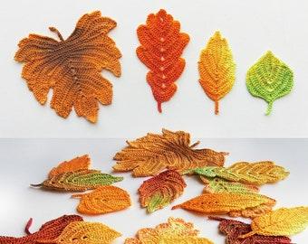Crochet pattern Autumn leaves. Crochet leaf pattern. Fall table decor. Crochet fall leaves, Thanksgiving decor.